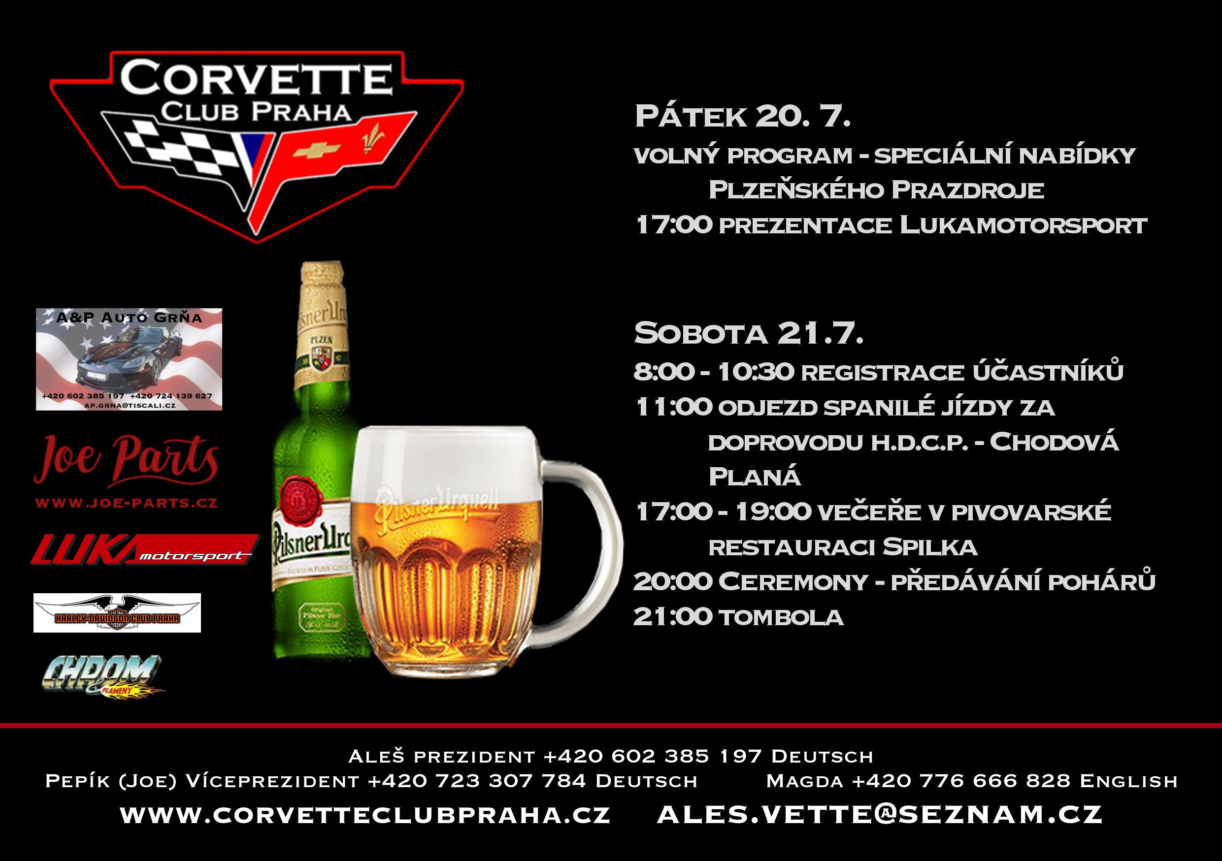 18. Mezinárodní sraz Corvette Club Praha - Program