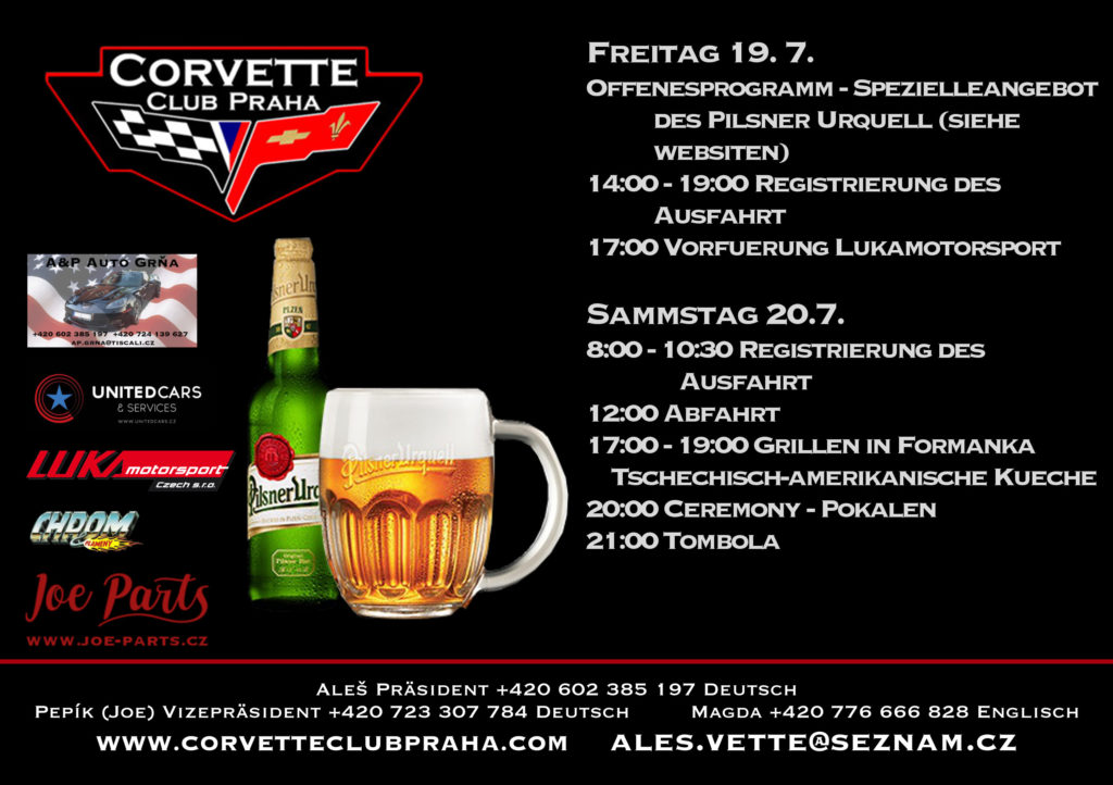 19. Internationale Treffen der Corvette Club Praha - Programm