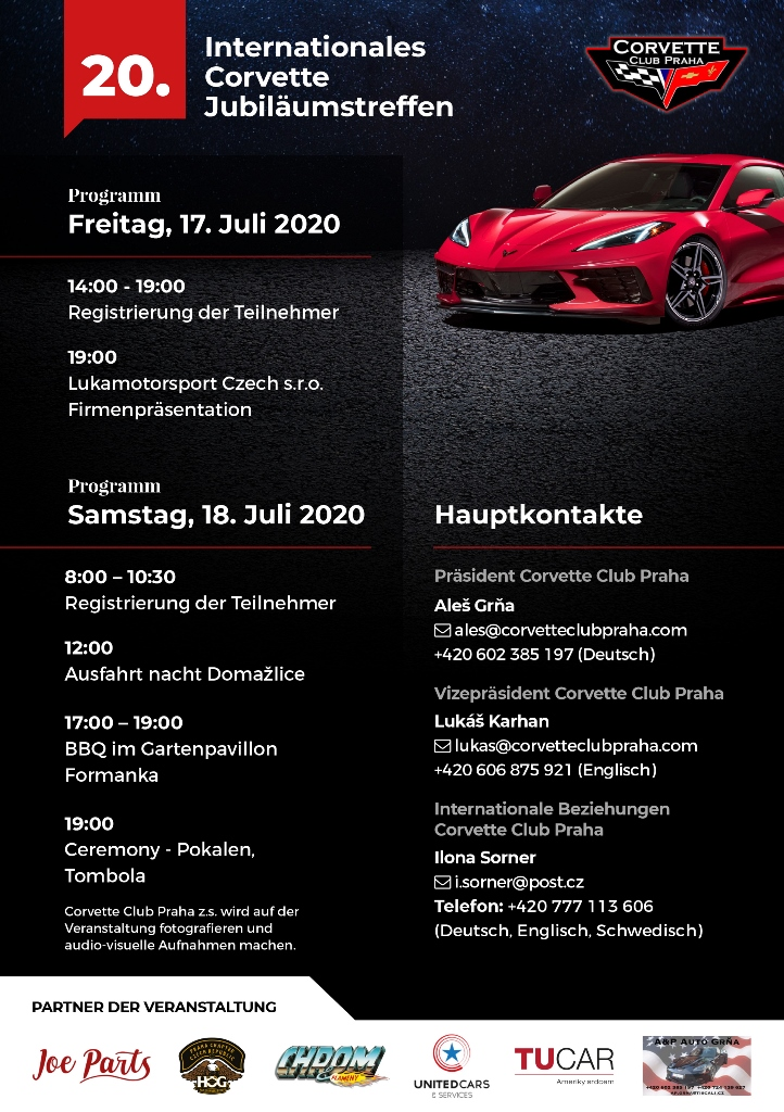 20. Internationale Jubiläumstreffen der Corvette Club Praha – Programm