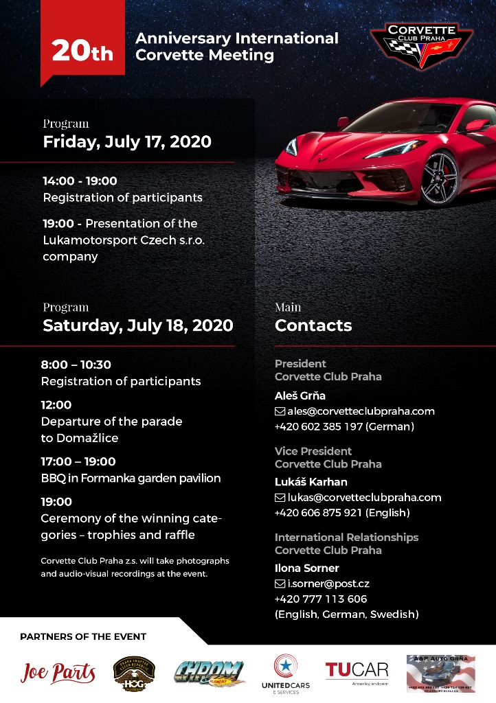 20th Anniversary International Corvette Club Praha Meeting – Program